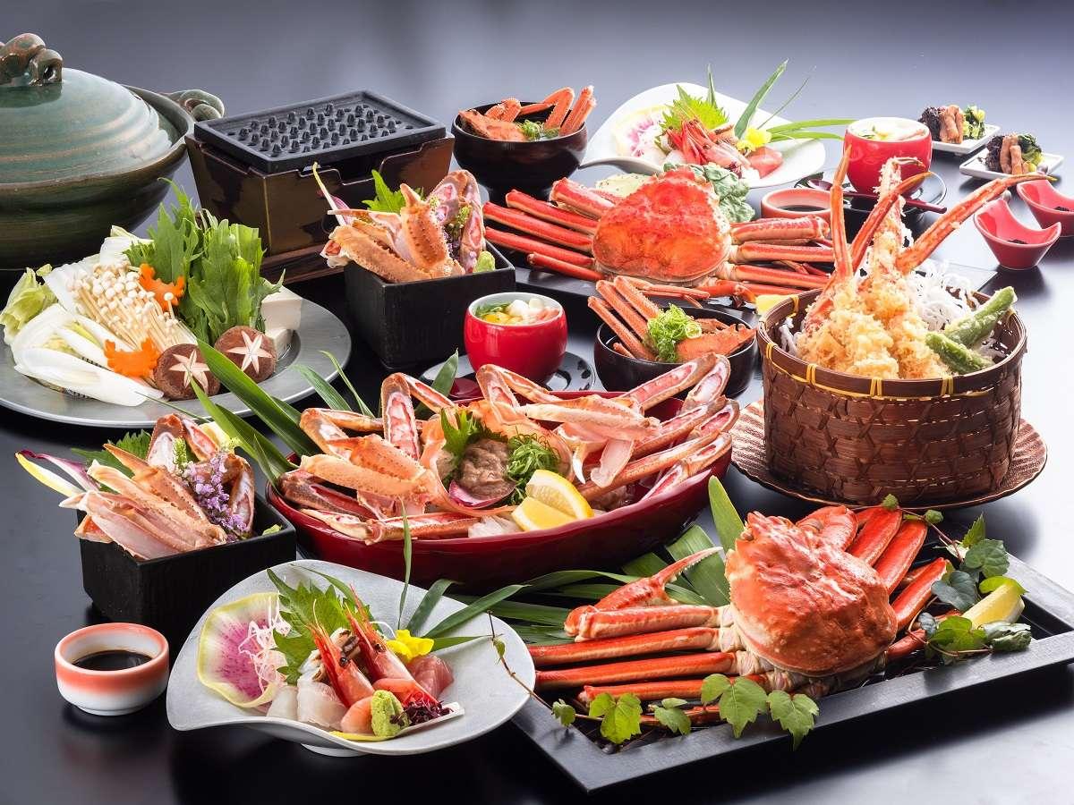 魚介のお造り&カニ天ぷら付き!当館一押しカニフルコースはこちら![一例]