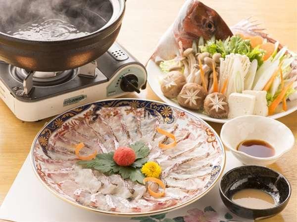 新登場の鯛のしゃぶしゃぶ。出汁にさっとくぐらせお召し上がりください。
