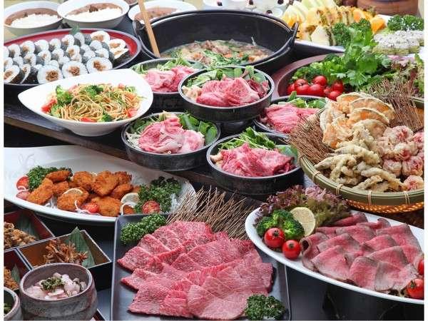 近江牛ディナービュッフェには近江牛すきやき、炙り寿司、グリルや天ぷらお造り、揚物など盛り沢山♪