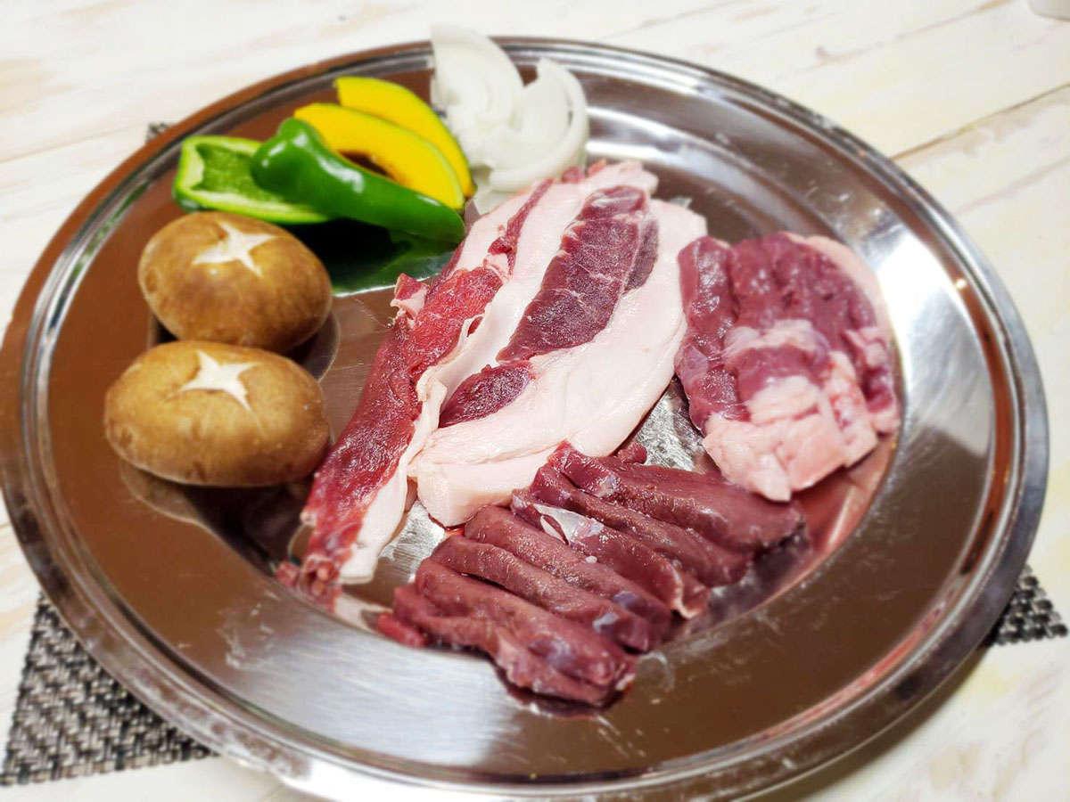 ジビエバーベキュー(鹿肉・猪肉・鴨肉・野菜)要予約