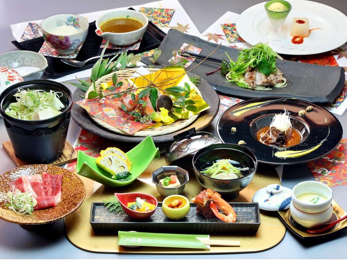 ご夕食イメージ:料理長厳選の食材を使った和食や和テイストの洋メニューもご用意しております。