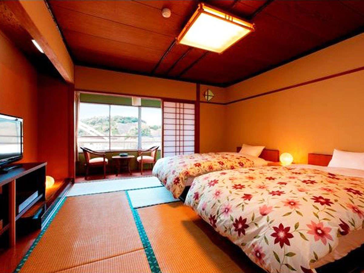 *オーシャンビュー♪和室にセミダブルベッドが2台あるツインタイプのお部屋です