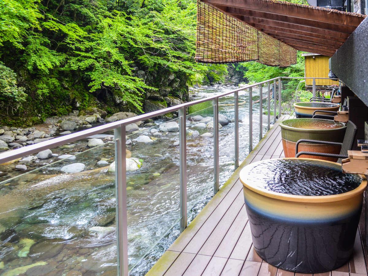 【露天陶器風呂】川の音を聞きながら雄大な景色をご満悦くださいませ