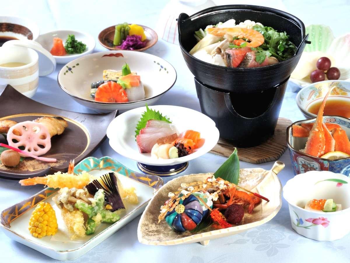 ◆【和食懐石膳】オホーツクの恵みをふんだんに使った和食懐石膳を夕食に。(写真は一例です)