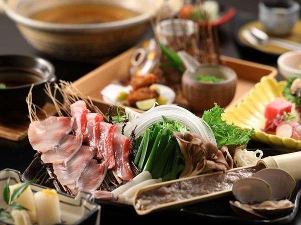 ご夕食は「海鮮しゃぶしゃぶ」「お肉の溶岩焼き」よりメインをご選択(写真は海鮮しゃぶしゃぶイメージ)