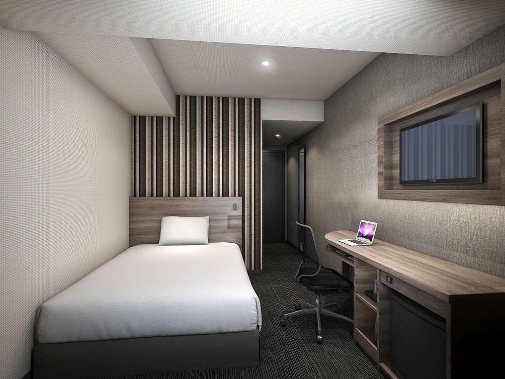 【ダブルルーム】広さ:約15㎡ ベッドサイズ:140cm×195cm 全室無料Wi-Fi&加湿機能付空気清浄機完備。