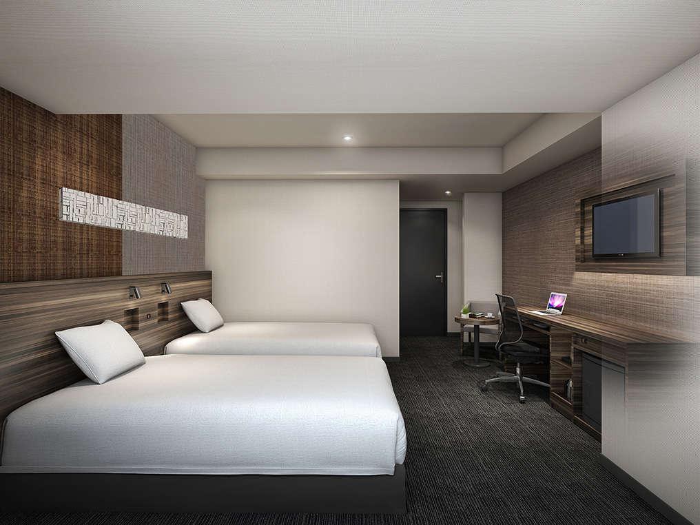 【ツインルーム】広さ:約19㎡ ベッドサイズ:110cm×195cm 全室無料Wi-Fi&加湿機能付空気清浄機完備。