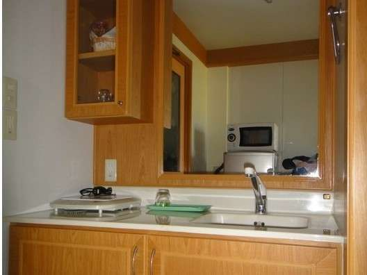 清潔なキッチン。IHクッキングヒーター。電子レンジ。