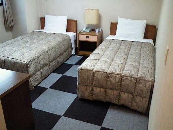 落ち着いた色調のカーペット、ツインルーム