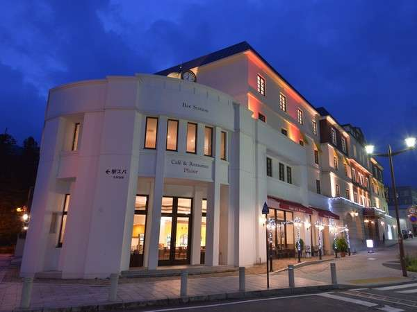 JR日光駅から望む夜のホテル