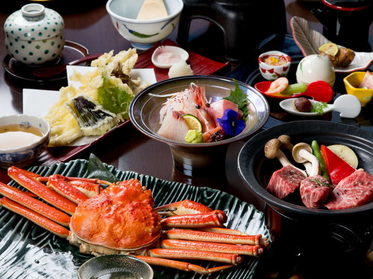 ずわい蟹1匹の浜蒸し&熊野牛陶板焼き会席
