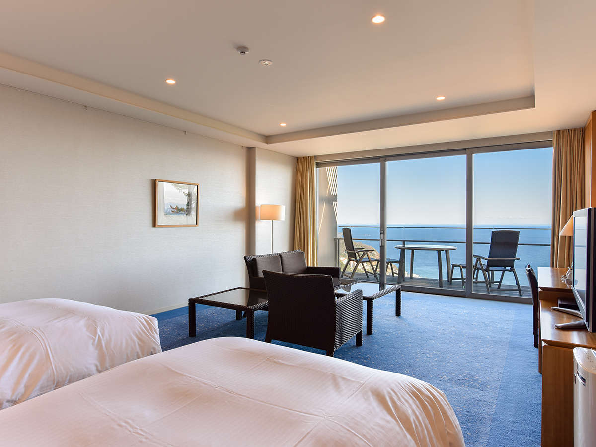 *【禁煙】ツイン/全室半露天風呂付き・70平米以上のスイート仕様の客室(ホテル棟客室一例)