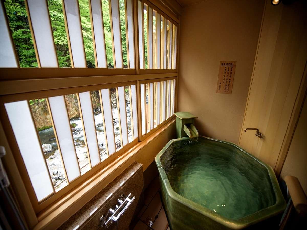 露天風呂付客室からの箒川