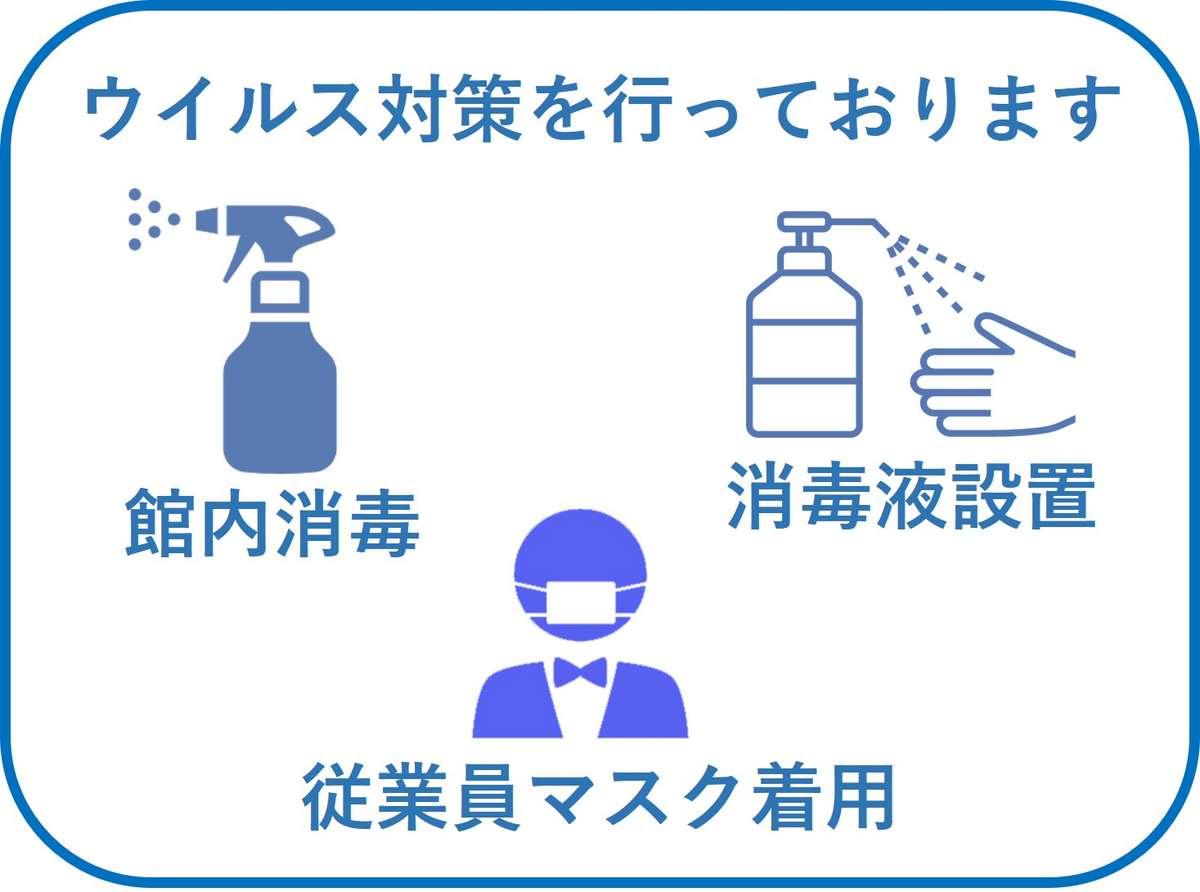 *当館ではコロナウイルス対策のため、消毒液の設置、館内の消毒、従業員のマスク着用を行っております