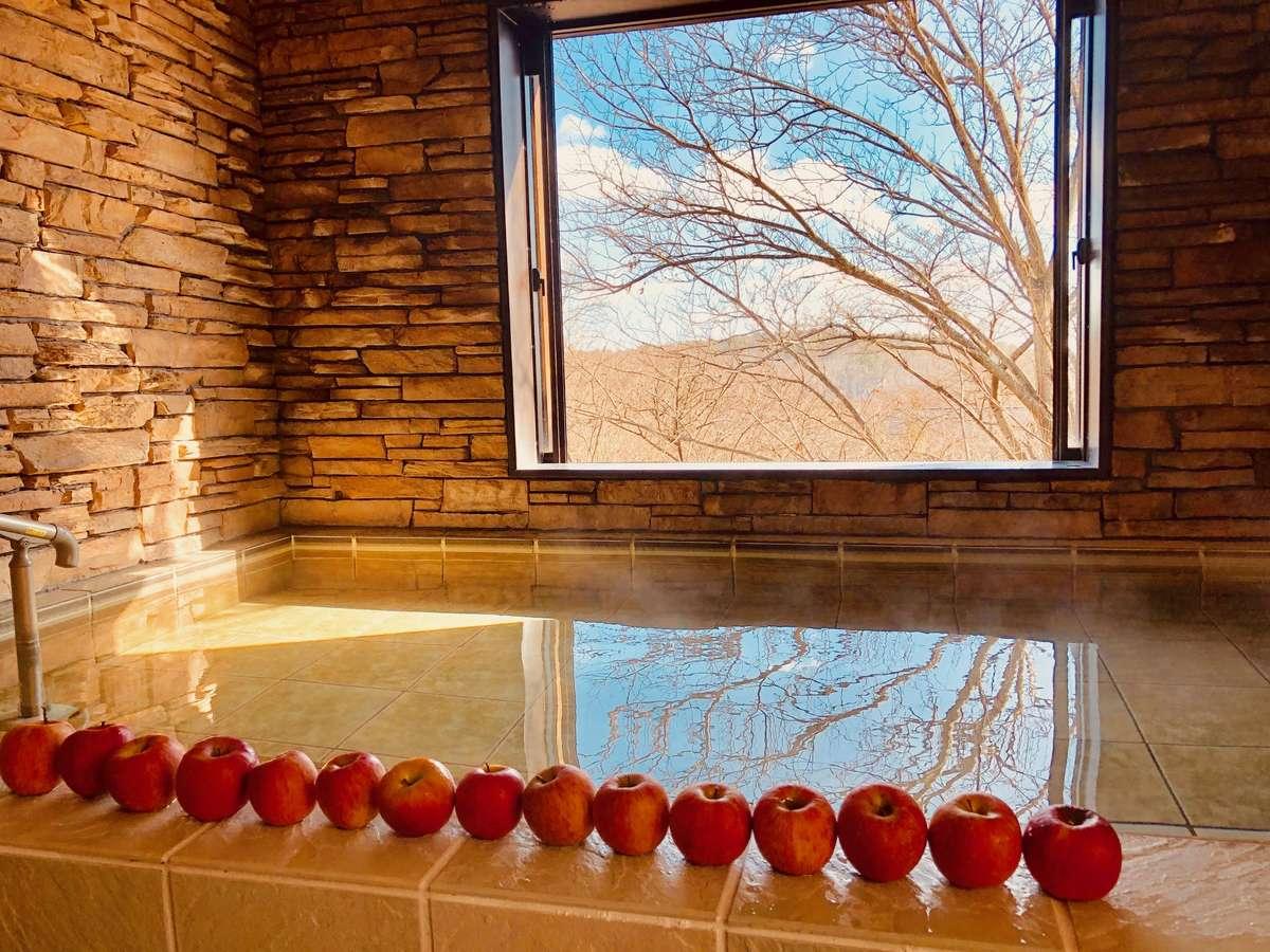 冬の風物詩 りんご風呂