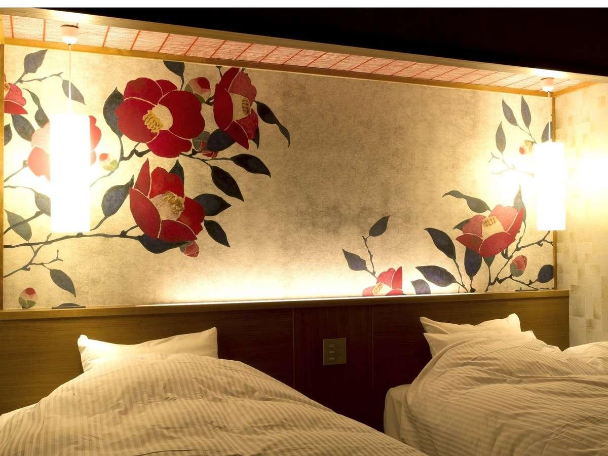 高層階ツイン 一例(イメージ)部屋毎にベッドヘッドのデザインが全て異なります
