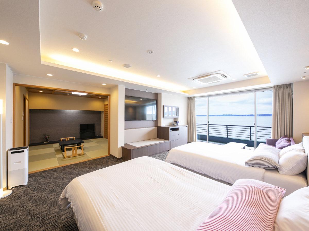こだわりの寝具やテレビ、そして海の見える客室露天風呂(温泉)が話題のnewオープン半露天風呂付和洋室