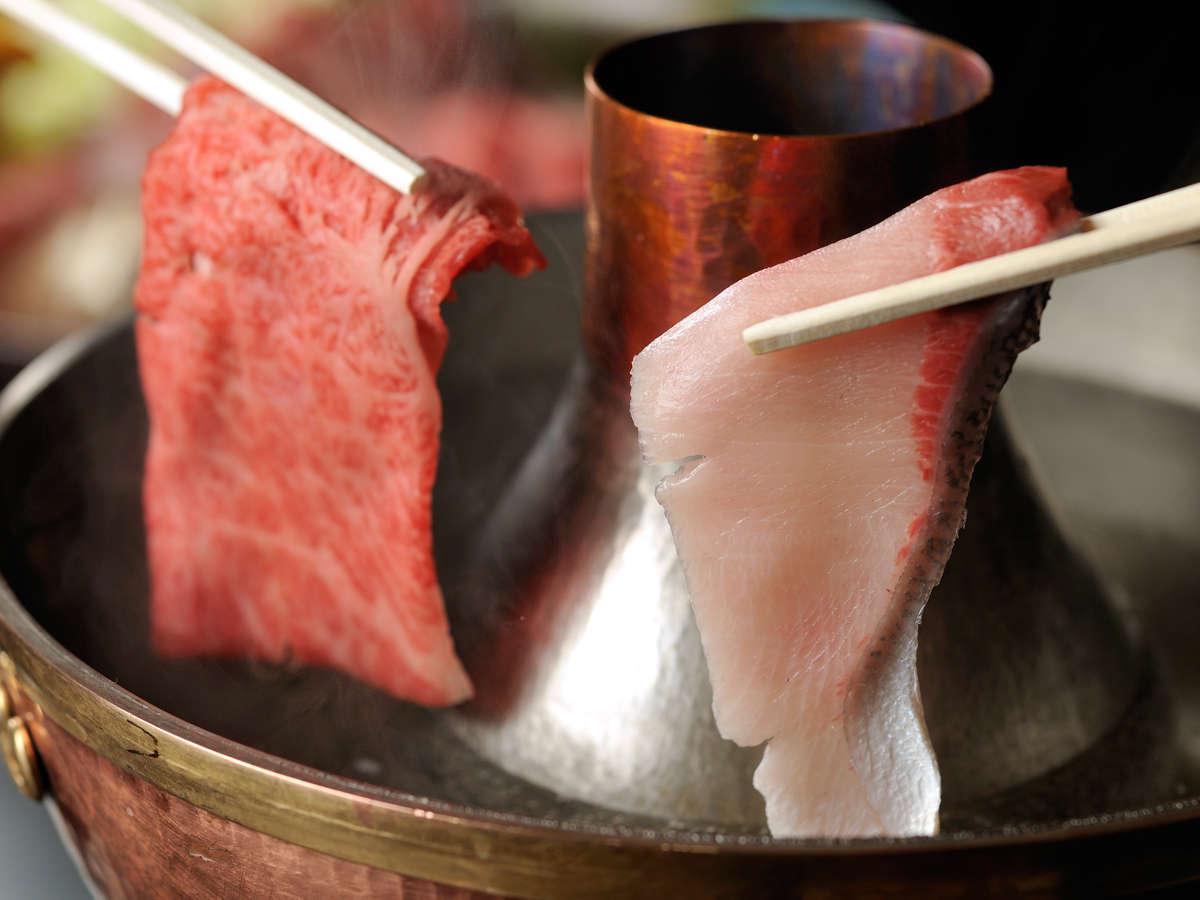 【冬季12月~3月限定】冬の日本海直送寒鰤と飛騨牛のしゃぶしゃぶ(一例)