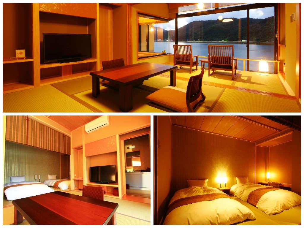 【2階和洋室】落ち着きと機能性を備えたお部屋はツインのベッドを配置。