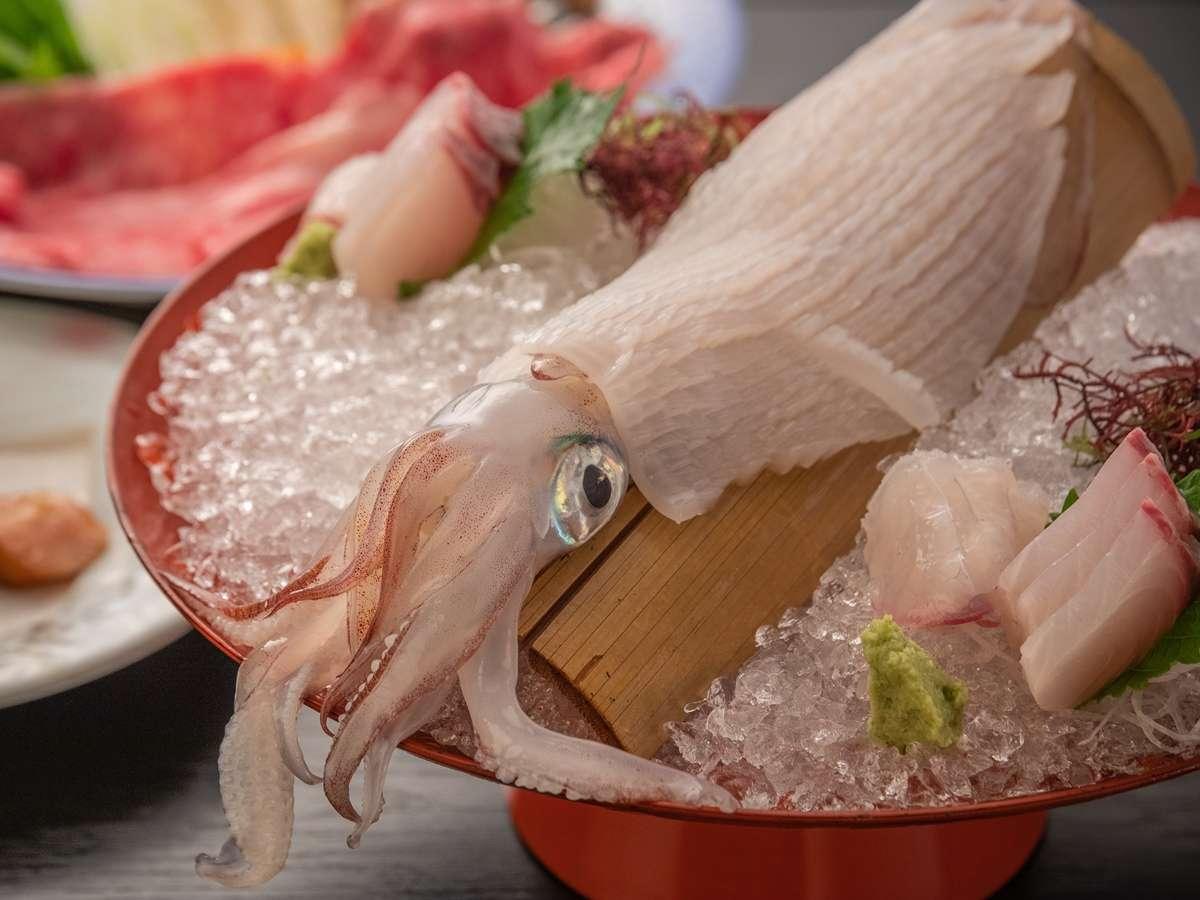【活き烏賊と佐賀牛すき焼き会席】イカの活き造り※イメージ