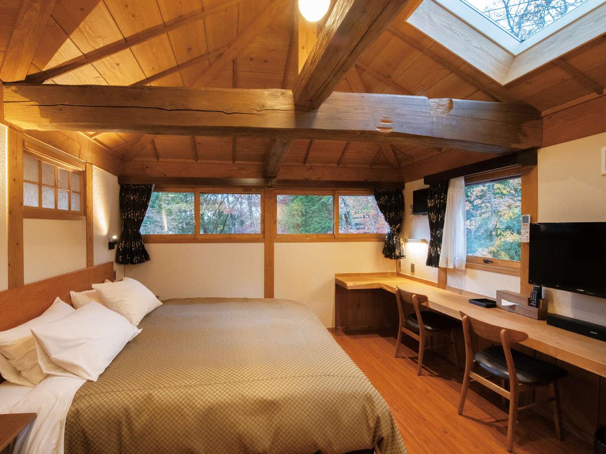 客室・クイーンベッド【202】カップル・夫婦でお泊りいただける広々ベッドが売りです。