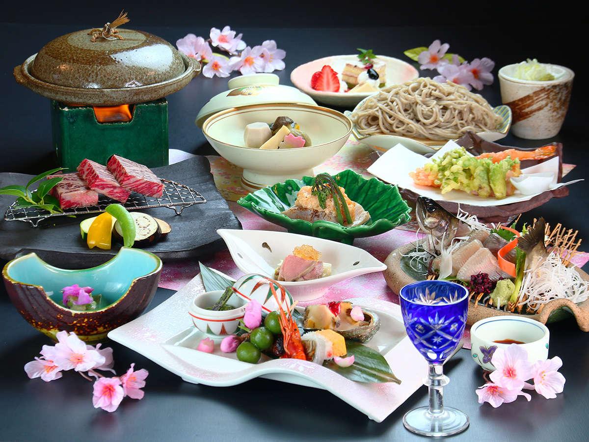 【夕食】穂高城「春の宴」。山菜、春野菜と信州の食材を使用し工夫を凝らした会席コースです。