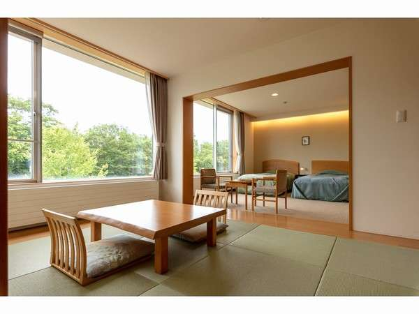 広々とした空間でゆっくりくつろぐことが出来る客室(和洋室タイプ)