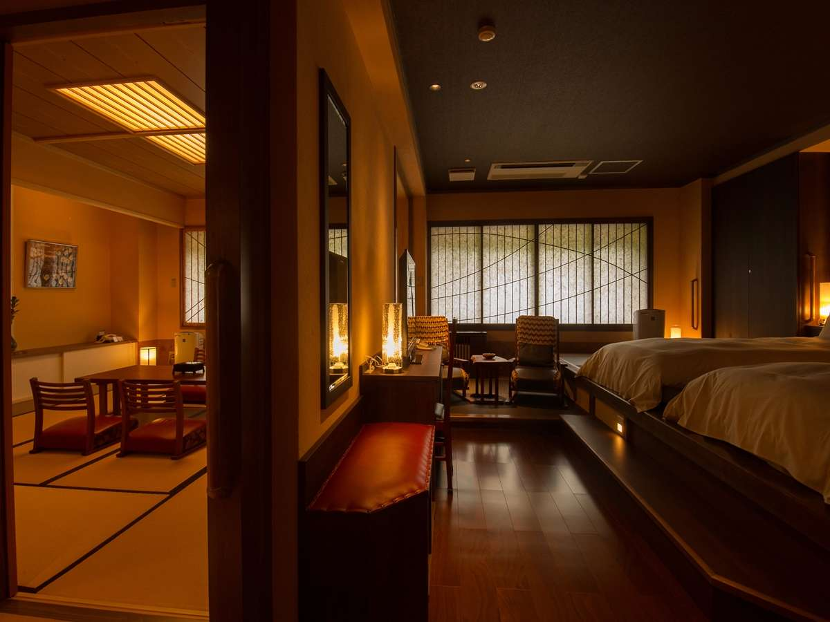 リニューアルしたお部屋 10畳和室+洋室ベット 檜風呂