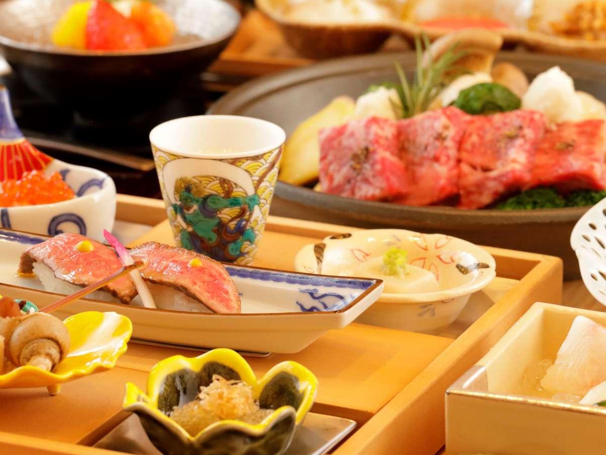 「飛騨牛の握り」や「野趣鍋」など宿泊地ならではの贅沢食材をふんだんにご賞味下さい。