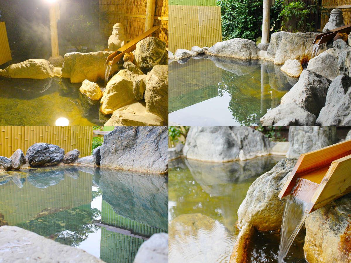 七つの無料貸切露天風呂(七福神の湯)、豊富な湯量だから出来る最高の贅沢を。