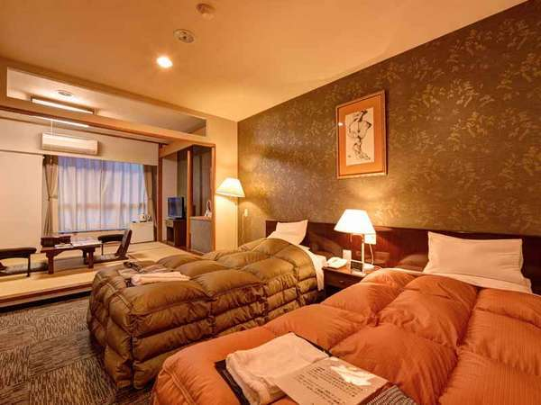 和洋室(客室一例)/和と洋、両方の良さを味わえる客室。安眠の夜をお過ごし下さい。