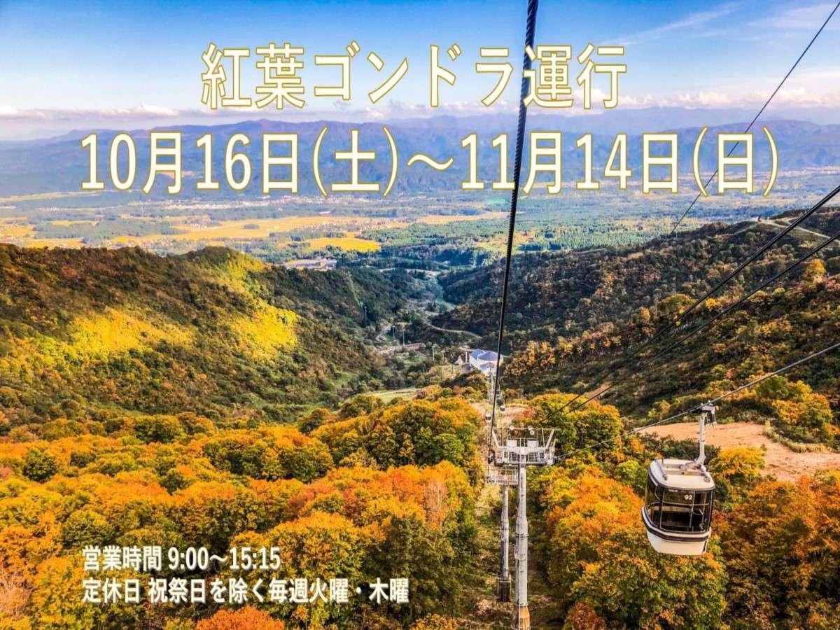 紅葉ゴンドラ運行 21年10月16日(日)~11月14日(土)