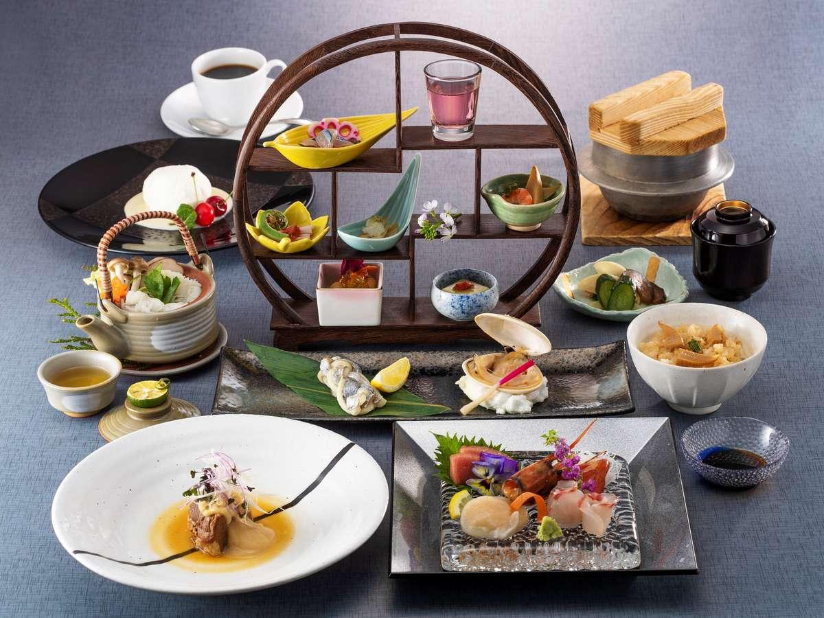 新鮮な魚介類と四季折々の和の食材をふんだんに使用した「和懐石コース」