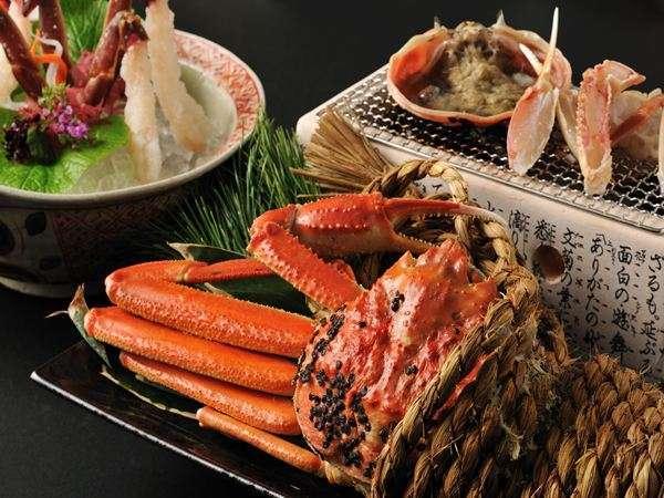 【冬の活ずわい蟹会席】蒸して、焼いて、もちろん刺身でも蟹をご堪能いただけます