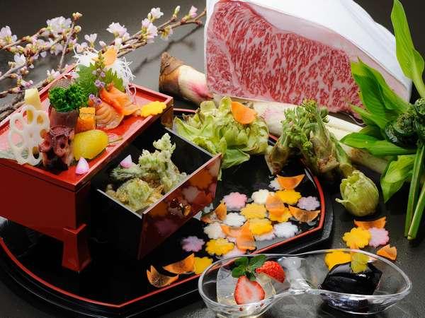 山形の旬の食材と、厳選した山形牛を使った夕食一例(イメージ)