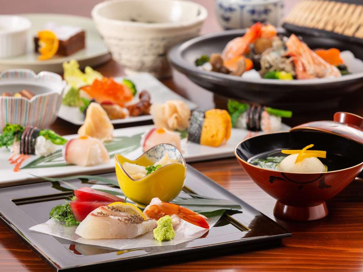 季節のお食事一例。料理長の遊び心満載の創作和食が楽しめます。