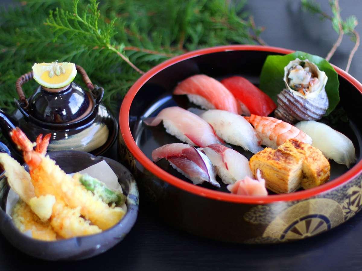 大分のブランド魚「関あじ関さば」を使った寿司や天ぷらがセットになった御膳