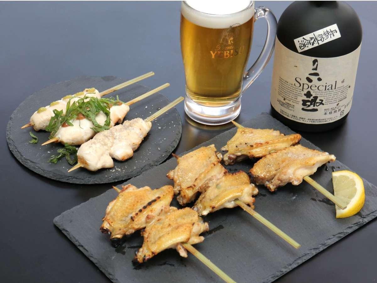 青森のシャモロックを、青森の日本酒・焼酎で召し上がれ