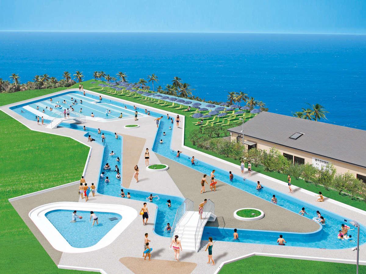 *【ガーデンプール(一例)】全長250メートルの流れるプール♪夏季限定です!