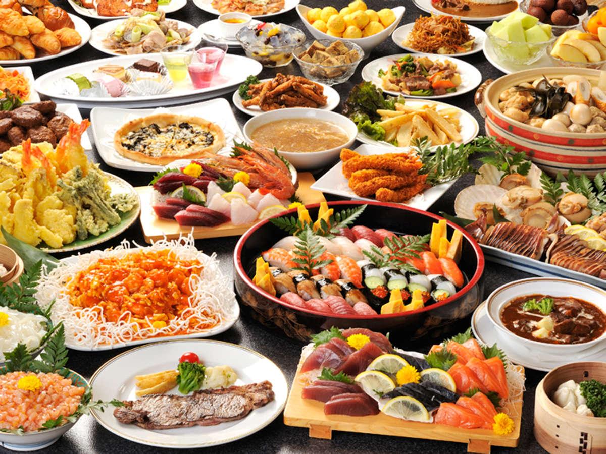*【ディナーバイキング(一例)】どーんと60種以上!季節に応じたお料理をご提供しております。