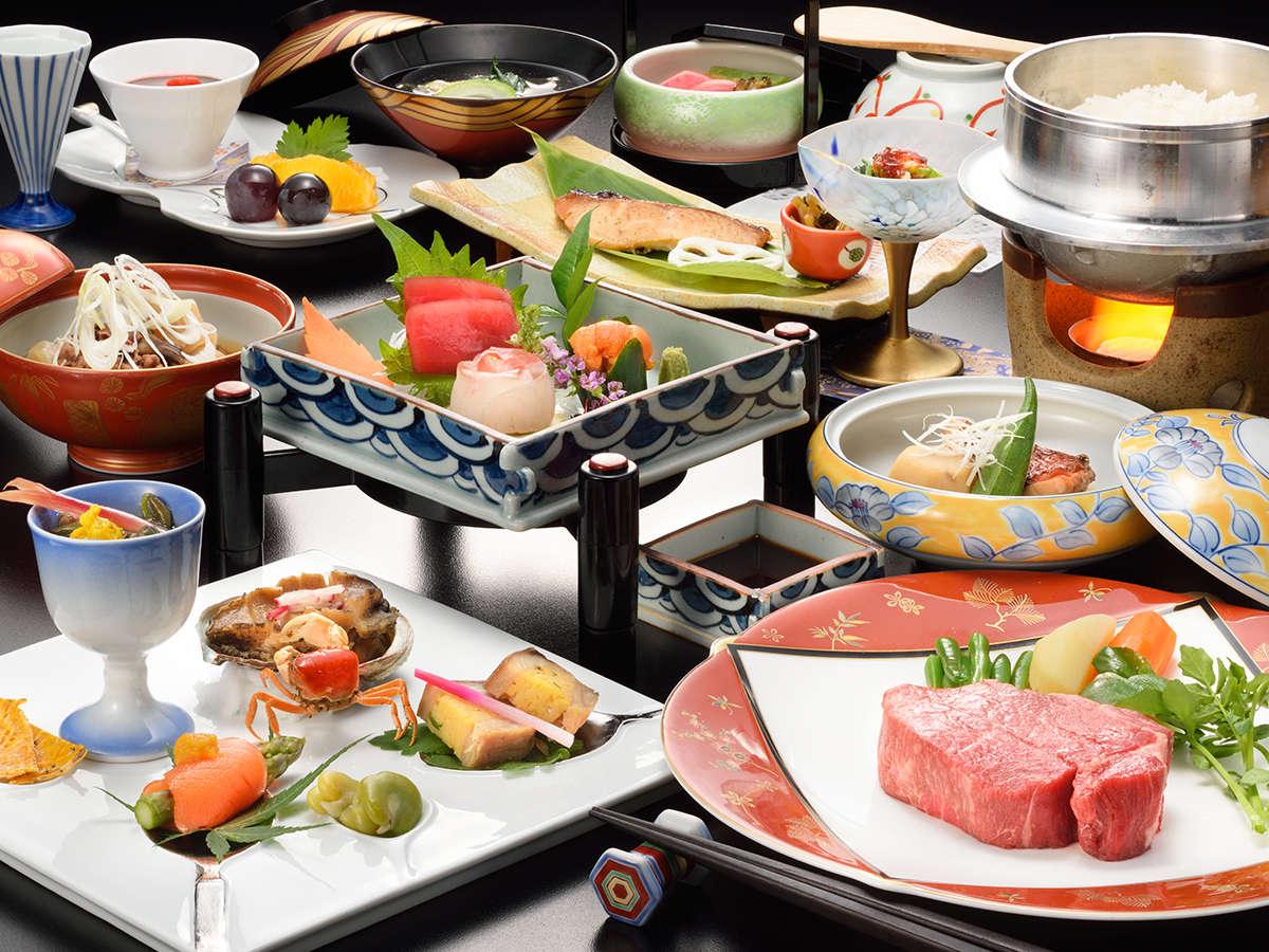 山形牛フィレステーキをはじめ、お釜で炊き立ての県産つや姫米も楽しめる、料理長特選会席