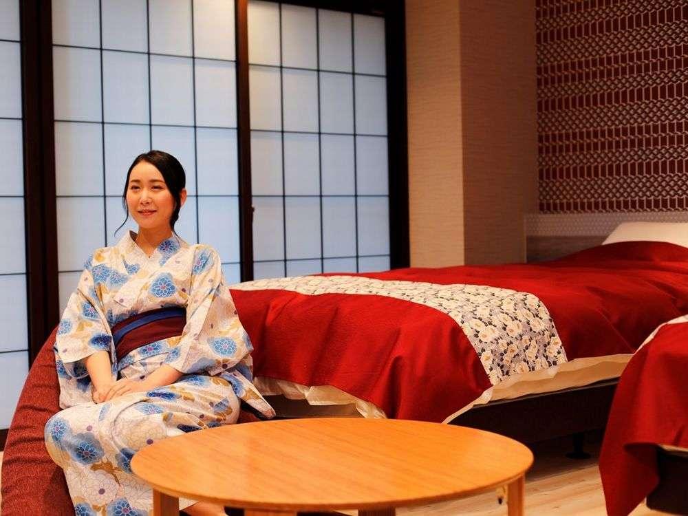 新装和洋室花地蔵庵602/25平米/バス/トイレ/シモンズツインベット★お部屋のお風呂は温泉ではありません。