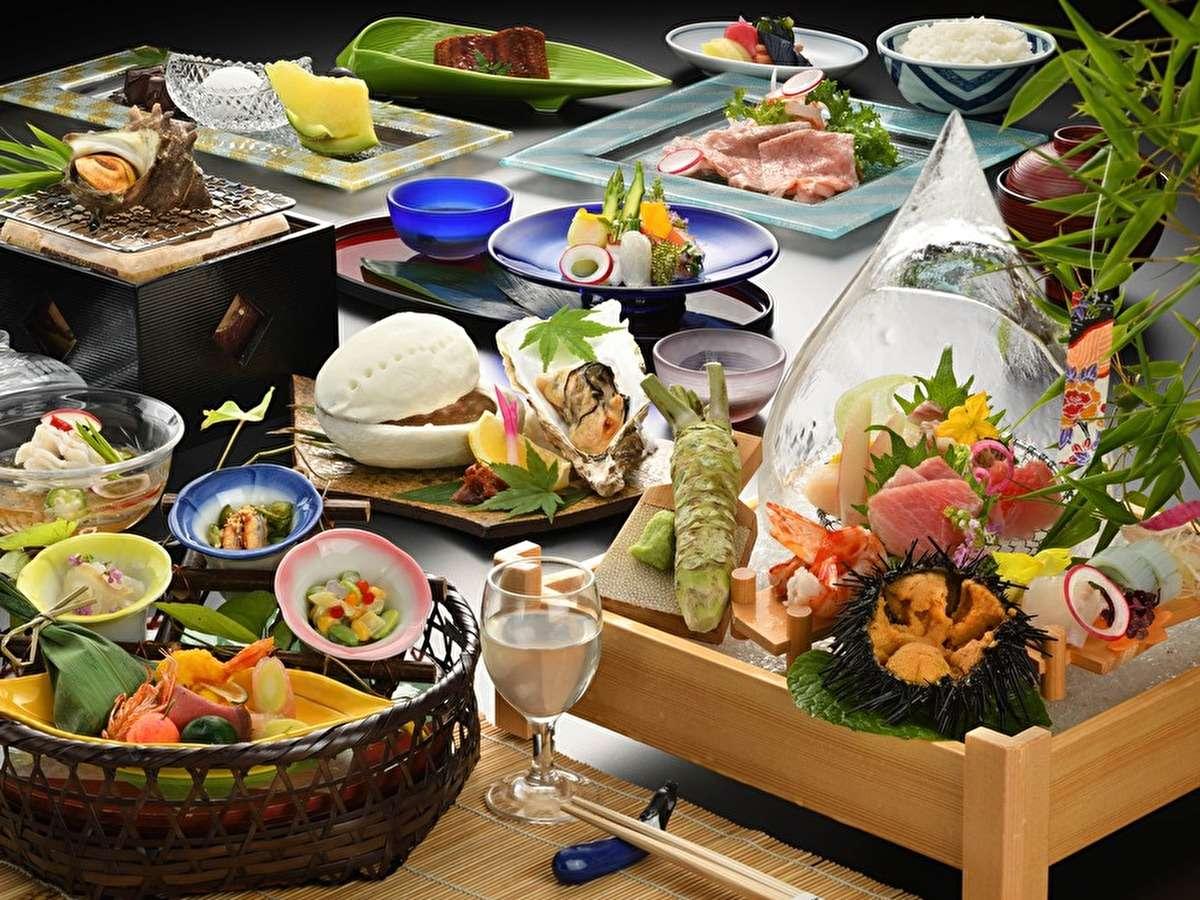 【夕食/夏】涼やかな雰囲気が漂う、目でも舌でも楽しめる夏の会席料理(画像はイメージです)。