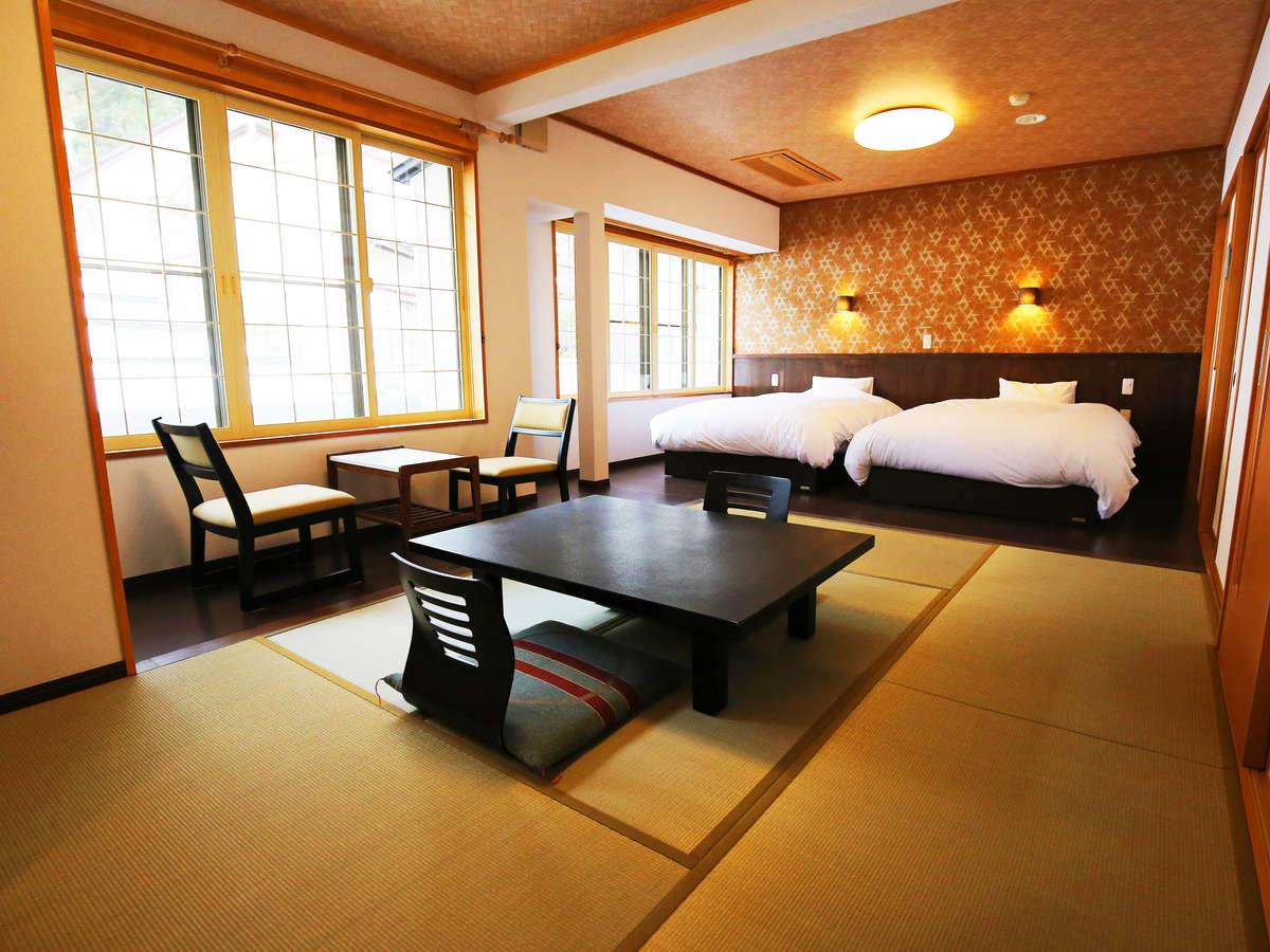 【和洋室】ゆったりセミダブルベッド+和室6畳