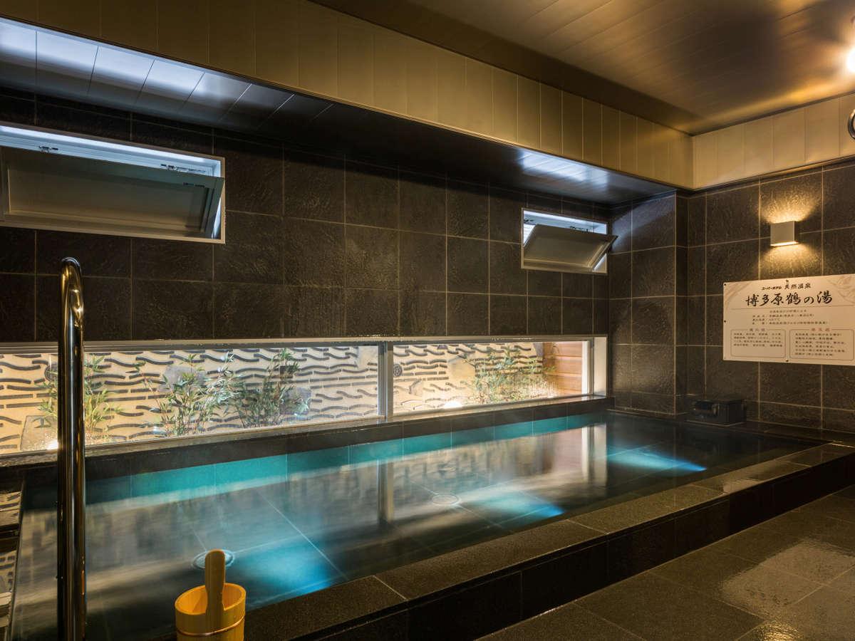 原鶴温泉直送の天然温泉!洗い場は5つで、男女別フロア!!※お部屋にユニットバスも有。