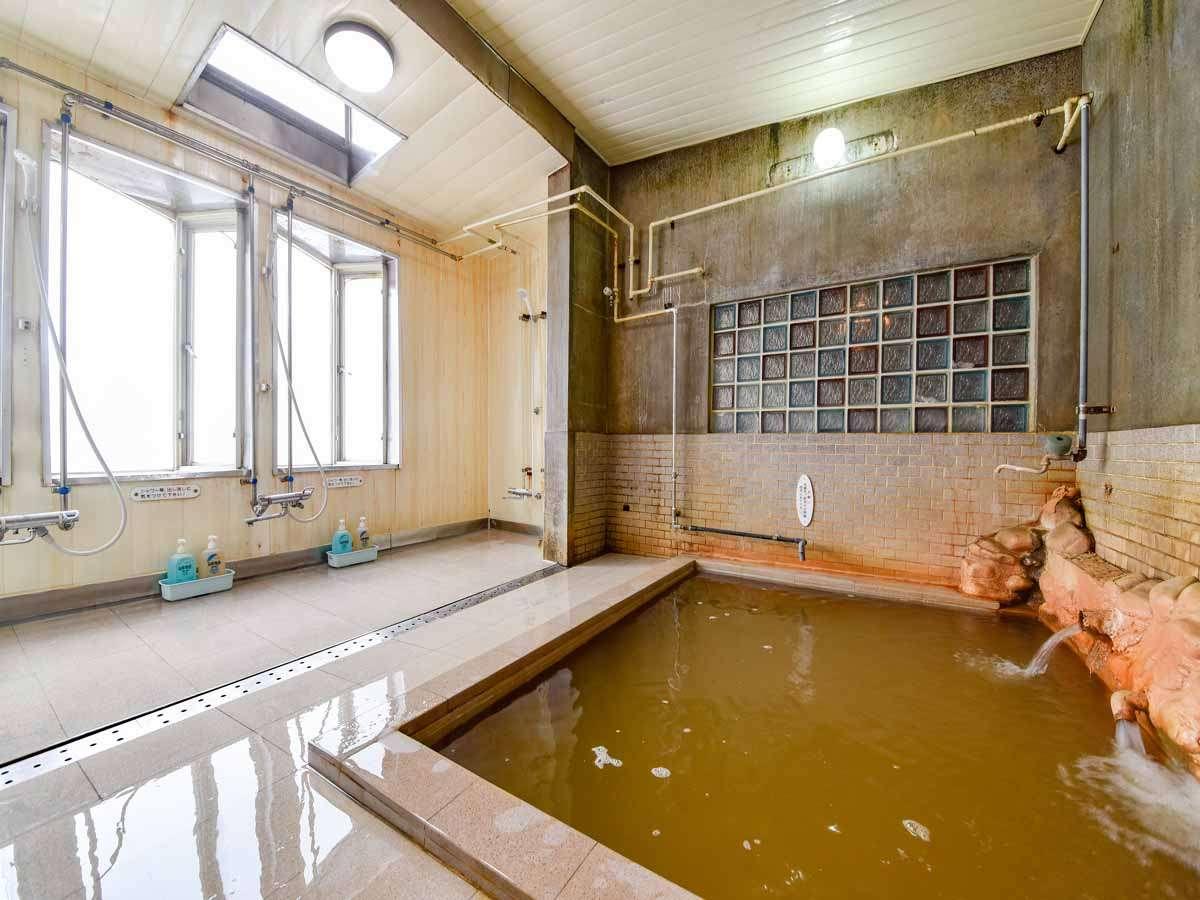 *大浴場(男湯)/泉質は「ナトリウム・塩化物炭酸水素塩泉・鉄泉」です。