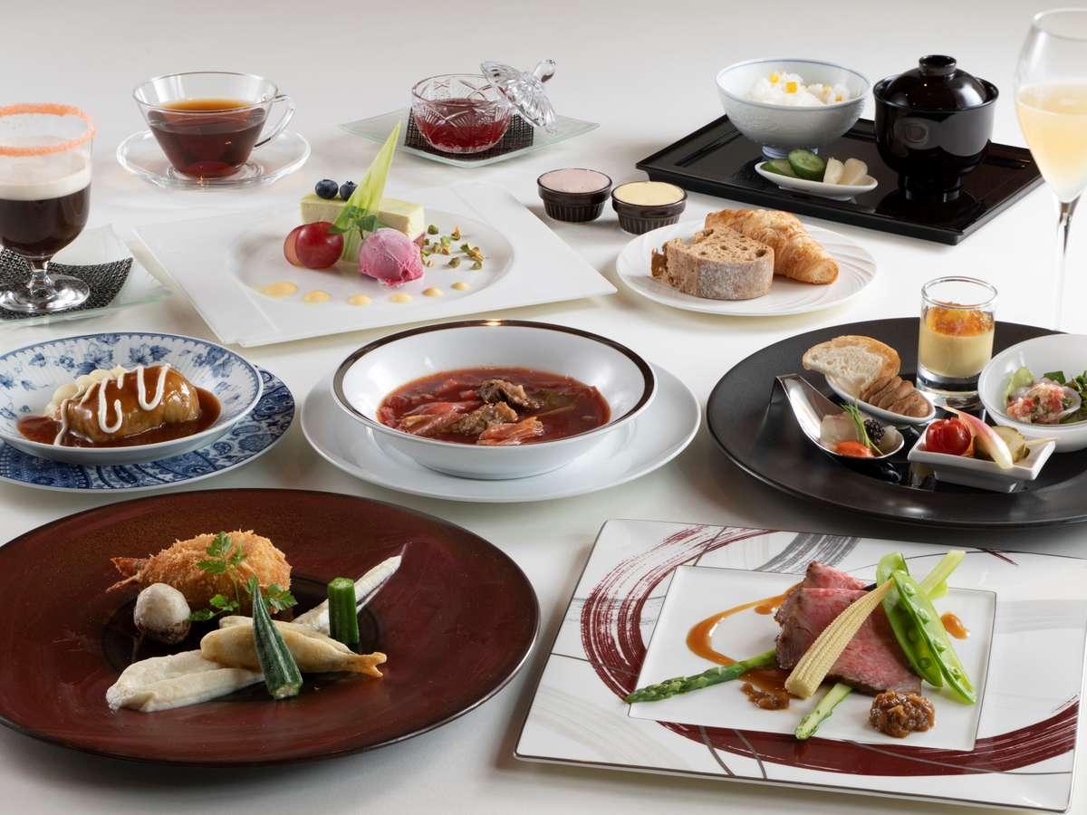 【夕食】洋食のコース料理をご用意。レストランからも草津の景色をご覧いただけます。
