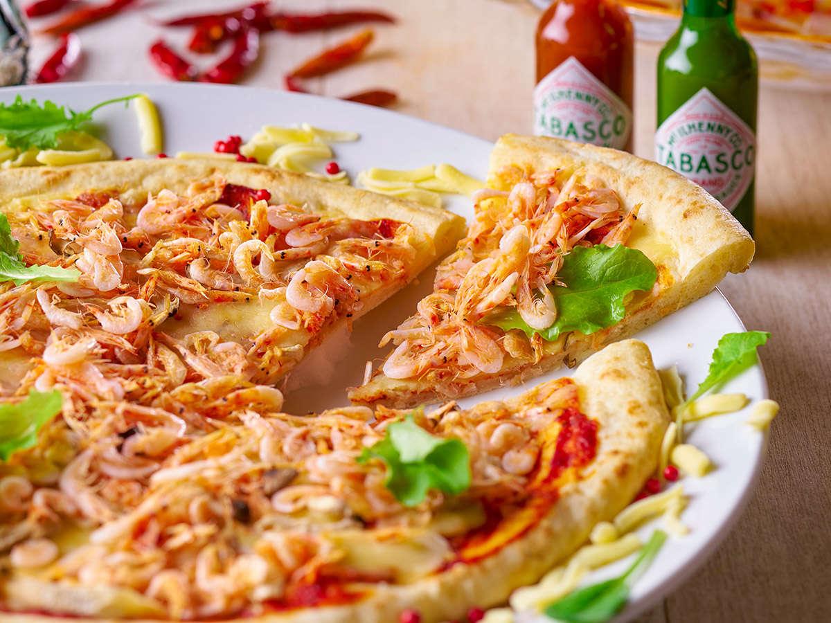 2021 春の料理フェア-桜えびと春野菜のピザ