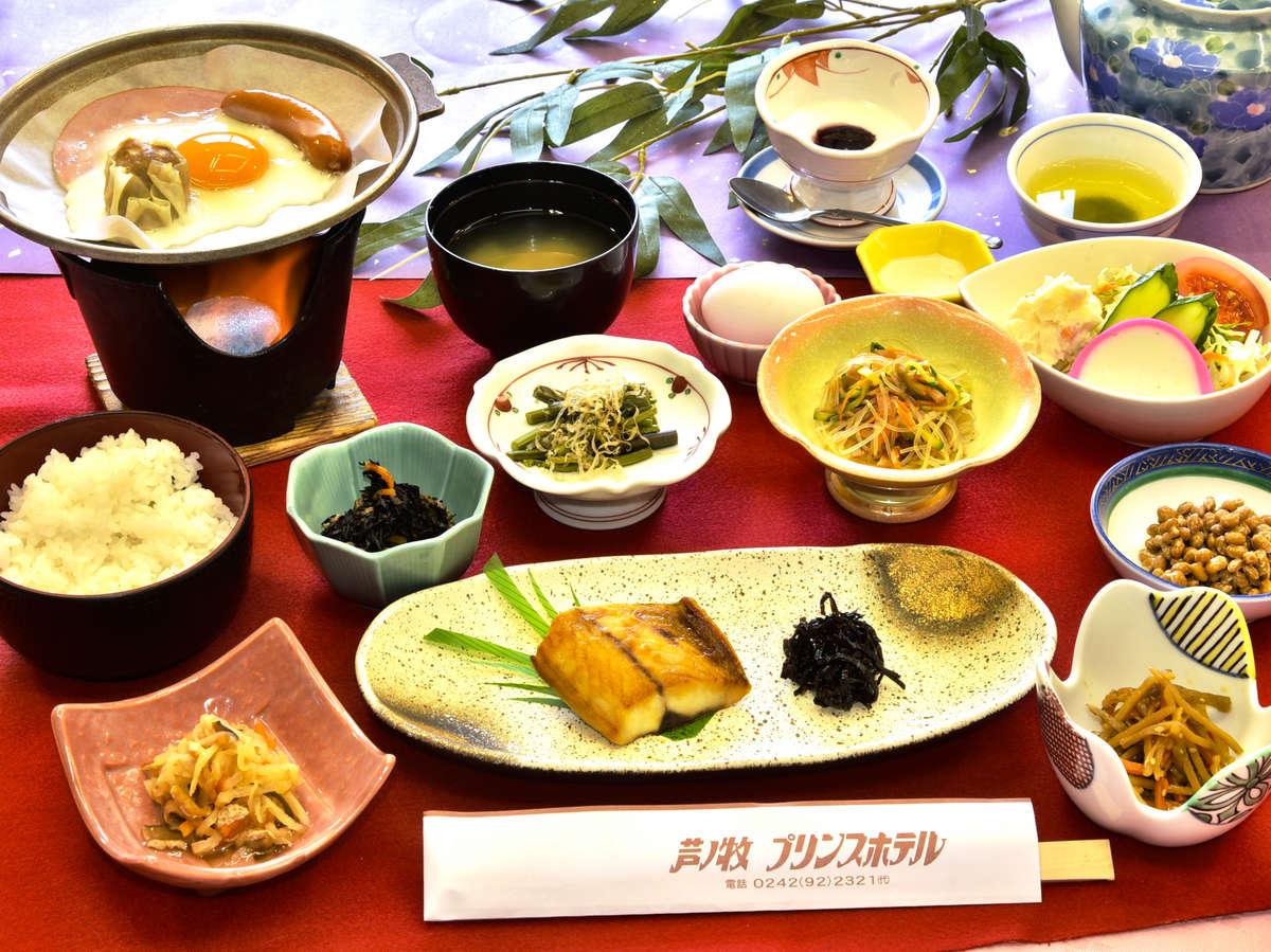 朝食一例:栄養・ボリューム満点のお食事1ご飯はおかわり自由ですよ!