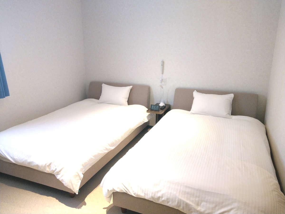 全室セミダブルツインルームのお部屋をご用意しております。ごゆっくりお過ごしください。
